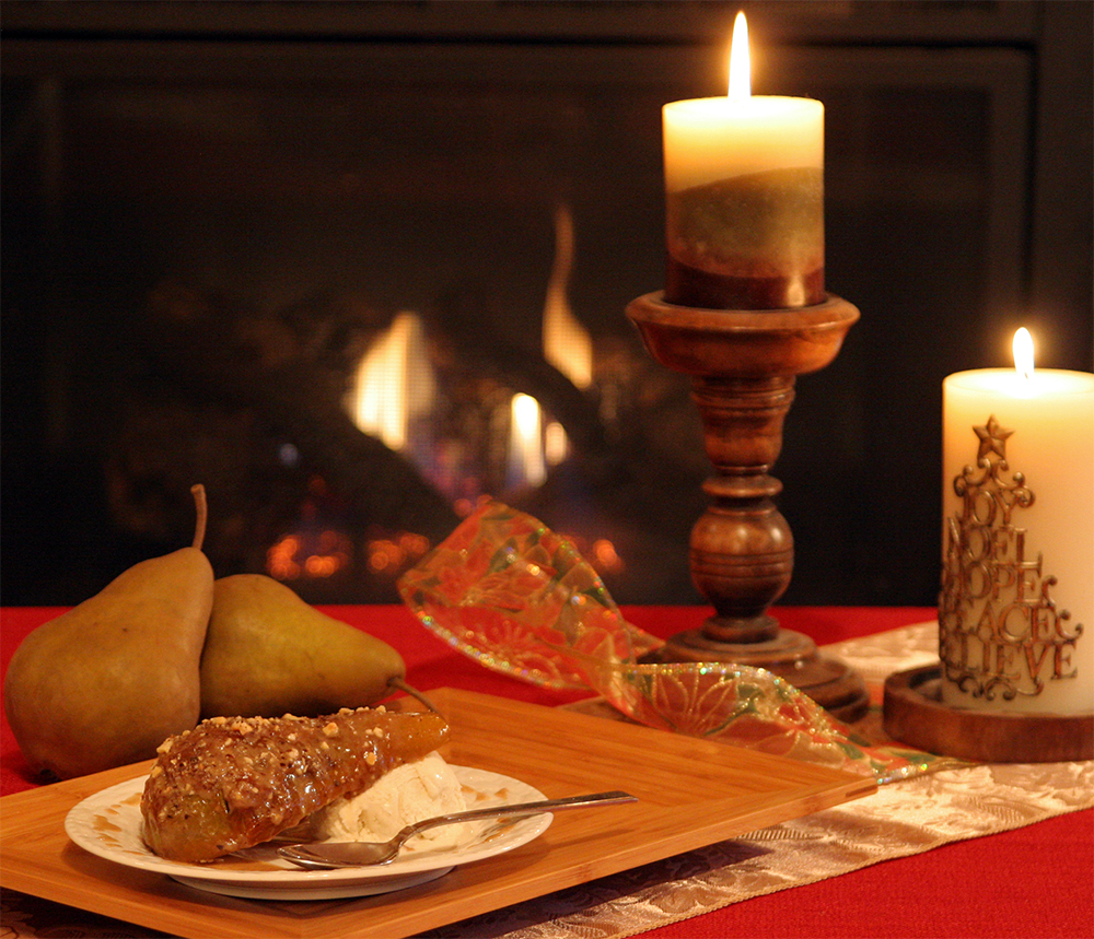 Dessert: Caramelized Bosc Pears with Hazelnut Butter