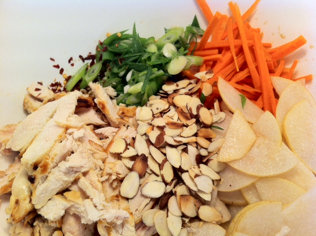 A Taste of Fall: Chicken & Asian Pear Slaw in Lettuce Cups with Sesame-Ginger Dressing