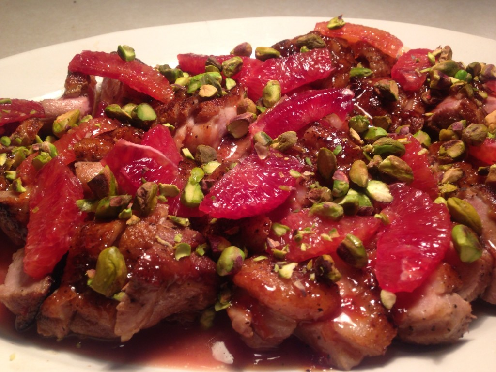 """Recipe: Crispy Duck Breast """"A L'orange"""" with Blood Oranges and Toasted Pistachios"""