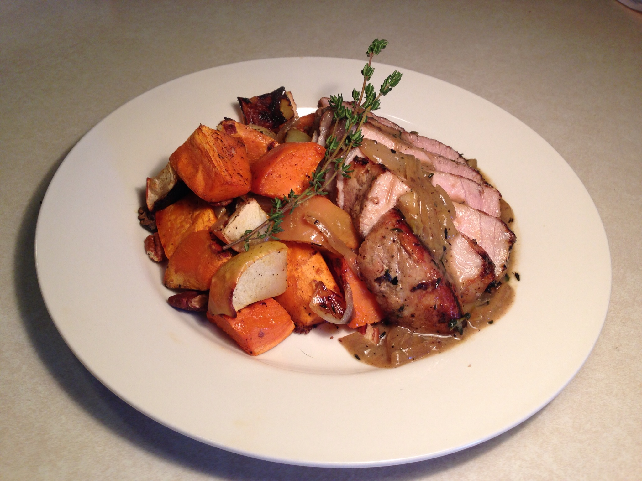 Dijon-Maple Pork Chops with Roasted Apples and Sweet Potatoes- The ...