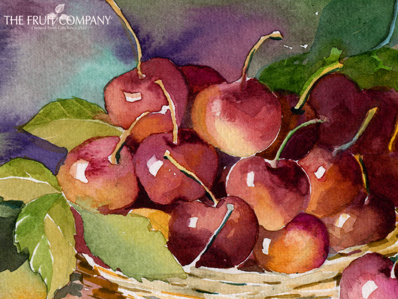 cherry wallpaper, Desktop, Desktop Wallpaer, Cherries, Summer, The Fruit Company, Fresh fruit, Watercolor, Painting