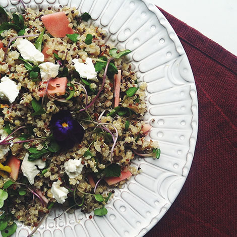 Apple, Almond + Mint Quinoa Salad Recipe & Fennel