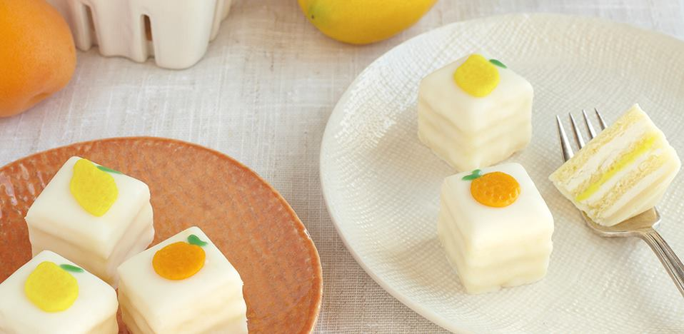 Dragonfly Cakes Lemon Petit Fours recipe on The Fruit Company Blog