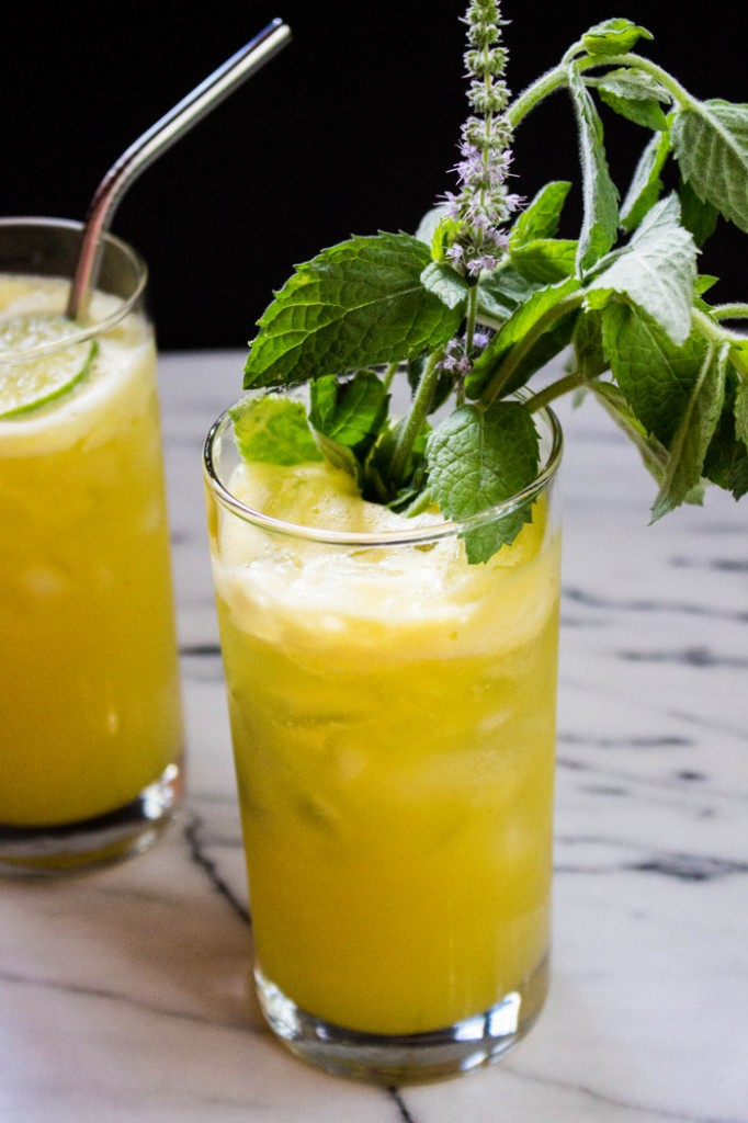 Refreshing pineapple, lime and mint juice.   Recipe on The Fruit Company blog