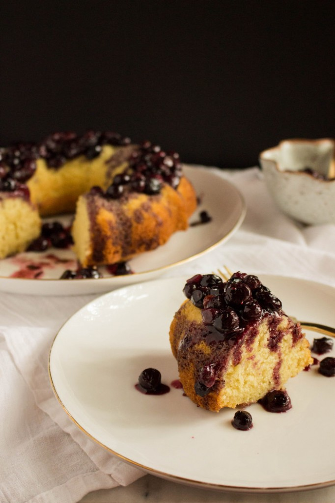 Olive Oil Cake with Roasted Balsamic Blueberries.   Recipe by The Fruit Company