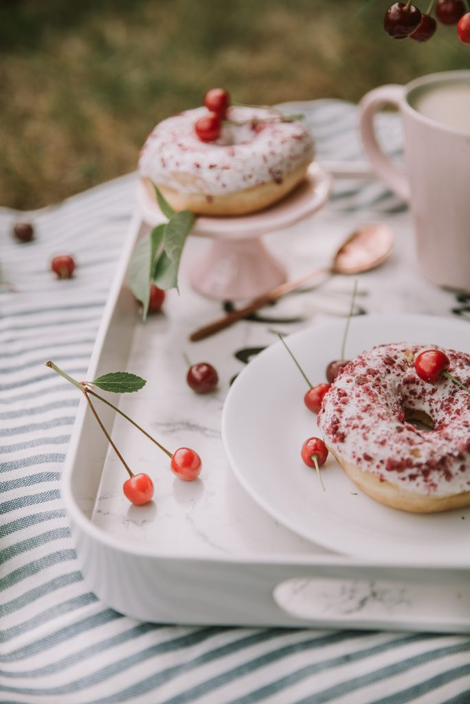 Simple Cherry Cake Donuts