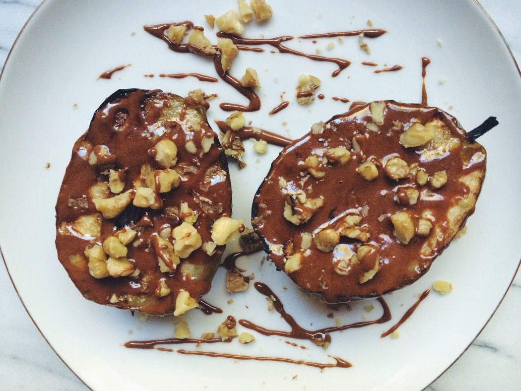 Roasted Pears are drizzled with honey and cinnamon in this recipe from The Fruit Company.