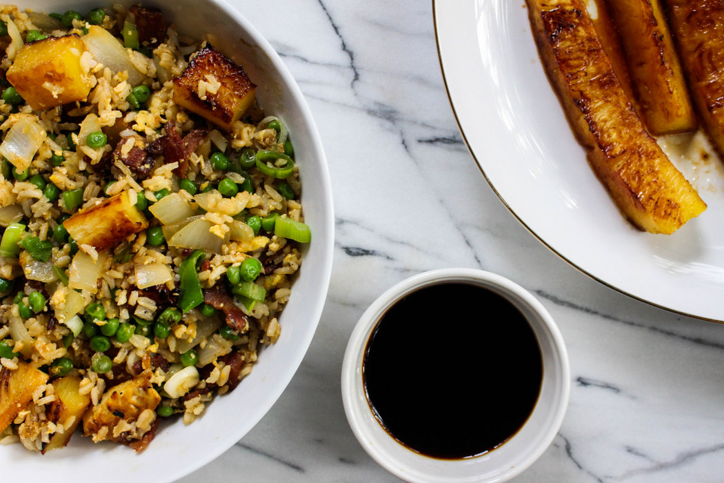 Pineapple Bacon Fried Rice Recipe from The Fruit Company Blog.